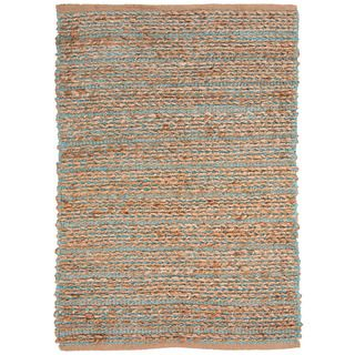 Handmade Naturals Solid Pattern Blue Rug With 0.4 inch Pile (36 X 56)