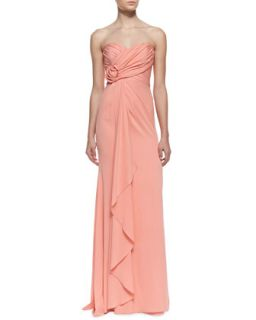 Womens Strapless Ruffle Front Gown with Rosette Detail, Coral   Badgley