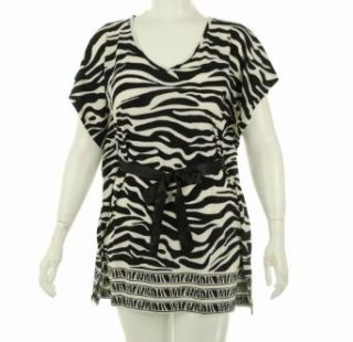 India Boutique Print Stretch Tunic with Belt Black/White S Fashion T Shirts