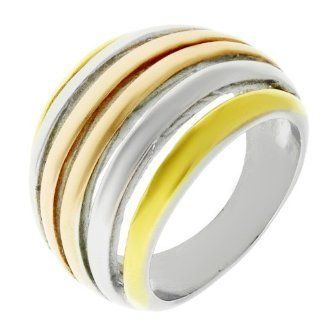 Women's Stainless Steel Multi Colored Ion Plated Ring, Size 5 Jewelry