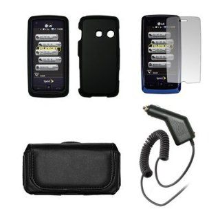 LG Rumor Touch LN510 Premium Black Leather Carrying Pouch+ Black Rubberized Hard Snap on Case Cover+Premuim LCD Screen Protetor+Premium Rapid Car Charger Combo For LG Rumor Touch LN510 Cell Phones & Accessories