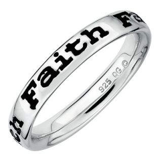 Stackable Expressions™ Polished and Enameled Faith Ring in Sterling