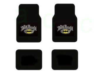 A Set of 4 Batman The Dark Kinight Universal Fit Plush Carpet Floor Mats For Cars / Trucks and One Batman Black Emblem in Silver Reflector Sure Grip Steering Wheel Cover Automotive