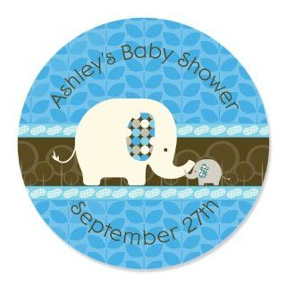 Blue Baby Elephant   24 Round Personalized Baby Shower Sticker Labels Toys & Games