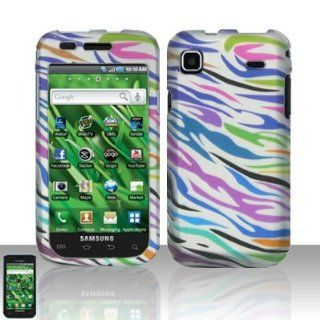 Pink Green Purple Blue Black Color Zebra Stripe Rubberized Design Snap on Hard Cover Protector Faceplate Cell Phone Case for T Mobile Samsung Vibrant T959 Galaxy S 4G + LCD Screen Guard Film + Free iTuffy Flannel Bag Cell Phones & Accessories