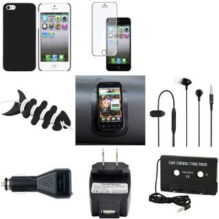 CommonByte Black Full Set Cool Combo Case+Clear Film+Headset+Charger For Apple iPhone 5 5G Cell Phones & Accessories