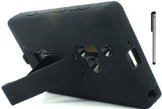 For Nokia Lumia 928 Heavy Duty Kickstand Hard Soft Cover Case with ApexGears Stylus Pen (Black) Cell Phones & Accessories
