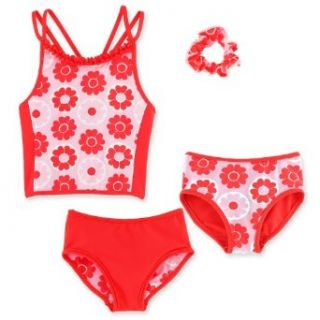 Chez Ami by Patsy Aiken Designs Girls Swim Two Piece Tankini Top/Bikini Bottom Set FREE scrunchie Coral/Pink/White Floral Print UPF 50+   Size 6X Fashion Tankini Sets Clothing