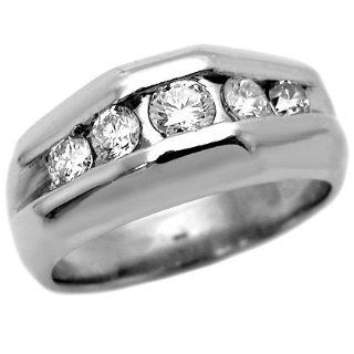 Mens .65ct Round Diamond Channel Set Wedding Band Ring 14k White Gold Jewelry