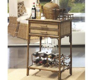Zodax Hamilton Rattan Butler Table Brown   Home And Garden Products