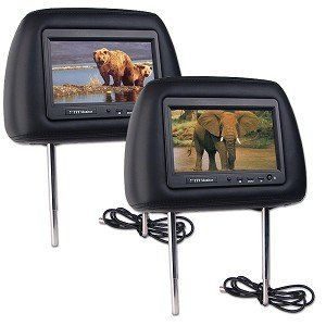7 Inch TFT LCD Monitor Car Headrest Two Pack with Remotes (Black) Electronics