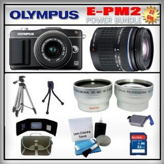 Olympus PEN E PM2 Black 16MP Digital Camera   Olympus 14 42mm Lens   Olympus 40 150mm Lens   Wide Angle and Telephoto Zoom Lens   32GB SDHC Memory Card   USB Memory Card Reader   Memory Card Wallet   Carrying Case   Lens Cleaning Kit   Full Size and Mini T
