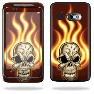 Protective Vinyl Skin Decal Cover for HTC Surround AT&T Cell Phone Sticker Skins   Burning Skull Cell Phones & Accessories
