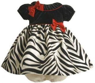 Bonnie Baby Girls Infant Short Sleeve Dress With Zebra Print Skirt, Black/White, 18 Months Clothing