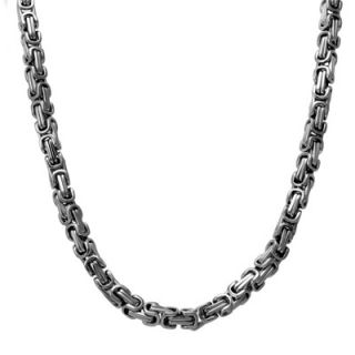 Mens Stainless Steel 6.0mm Byzantine Chain Necklace   24   Zales