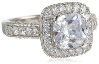Sterling Silver Cubic Zirconia Cushion Cut Ring Jewelry
