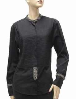 Roberto Cavalli Womens Top Blouse Shirt Black Cotton, XS, Black