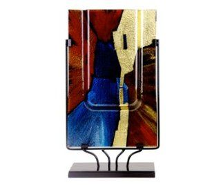 Fused Glass Vase with Metal Stand   Decorative Vases