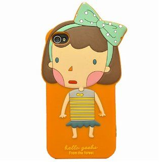 Cute Hello Geeks Pure Girl Silicone Soft Case Cover for Apple iPhone 4 4G 4S Cell Phones & Accessories
