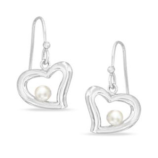 5mm Cultured Freshwater Pearl Heart Drop Earrings in Sterling