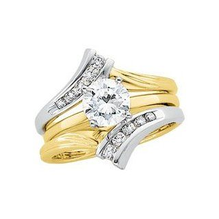 1/4 CT TW 14K White/Yellow Gold Two Tone Bridal Ring Guard Jewelry