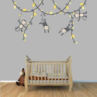 Yellow and Gray Monkey Wall Decal for Baby Nursery or Kid's Room, Fabric Vine Decal  Baby