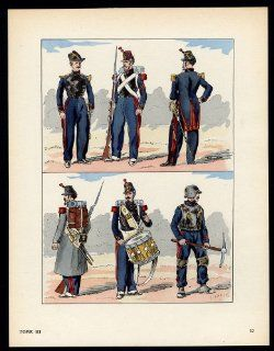 Antique Print MILITARY FRANCE UNIFORM IMPERIAL GUARD pl. 17 Large 1965   Printmaking Prints
