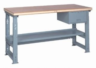 "Lyon PP2403AS Steel Top Adjustable Slide Bolt Legs Work Bench with Stringer, Perfect Fit Drawer and Shelf, 72"" Width x 28"" Depth x 37"" Height, Putty Workbenches"