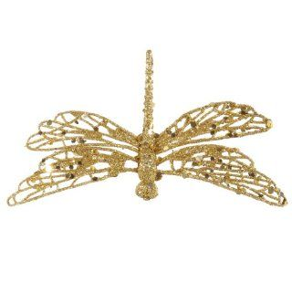 "Vickerman 29357   6"" Gold Glittered Dragonfly Christmas Tree Ornament with Clip (P123908)"