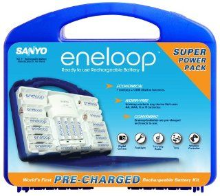 Sanyo NEW eneloop 1000 Super Power Pack with 12 AA, 4 AAA, 2 C and D Spacers, 4 Position Charger and Storage Case (Discontinued by Manufacturer) Electronics