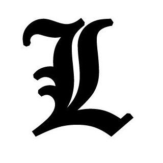 Old English Lettering Letter L White Decal Automotive