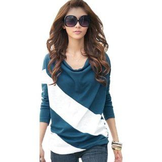 GT Dress Cotton long sleeve stripe plus size casual T shirt women tops new fashion  Sports Fan T Shirts  Sports & Outdoors