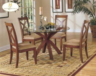 5pc Star Hill Collection Round Dining Table & Chairs Set   Dining Room Furniture Sets