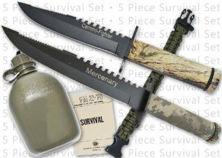 SK 1 GR. The Ultimate Survival Kit (Green) This hot selling kit is all you need to survive the wild. You are getting value at it's best with 2 survival knives  both with sheaths and compasses, matches & more. Included is also a canteen and cup, sur