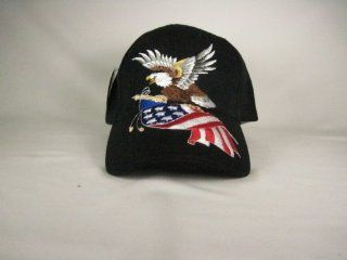 Usa Eagle American Flag Baseball Hat Cap Black Adj. Velcro Back New