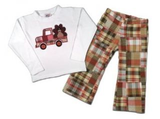Juxby Kids Baby Boys Turkey Truck Top and Pants Infant And Toddler Pants Clothing Sets Clothing