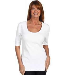 Red Dot Cotton Knits 1/2 Sleeve Scoop Neck Womens T Shirt (White)