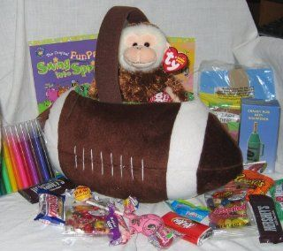 Plush Football Kids Gift Basket for Easter, Birthday, Get Well, Big Brother, Big Sister, ANYTHING   Candy, Games, Crafts, Coloring, Activites, FUN Toys & Games