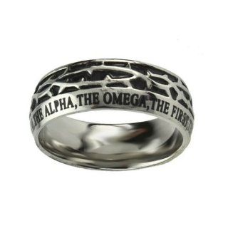 "Christian Mens Stainless Steel 10mm Abstinence Crown of Thorns ""I Am the Alpha, the Omega, the First, the Last, the Beginning, the End"" Revelation 2213 Comfort Fit Chastity Ring for Boys   Guys Purity Ring Jewelry"