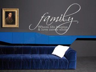 Family Where Life Begins & Love Never Ends Vinyl Wall Decal   Decorative Wall Appliques