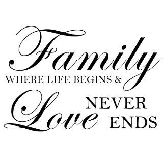Family Where Life Begins And Love Never Ends   Wall Decal Home Decor Craft (Black, Small)   Wall Docor Stickers