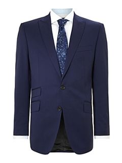 Simon Carter Twill regular fit peak lapel jacket Blue