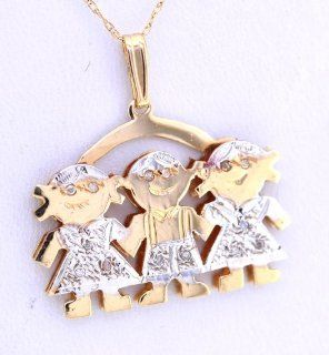 14K Yellow Gold Diamond 0.14ct Kids Charm /Girl Boy Girl/ Jewelry