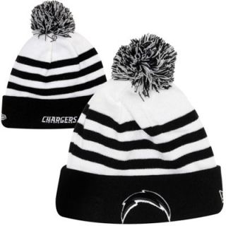 New Era San Diego Chargers NFL Fashion Sport Knit Hat with Pom   White/Black
