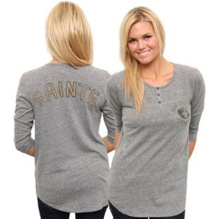 Junk Food New Orleans Saints Ladies Halftime Tri Blend Henley T Shirt   Ash