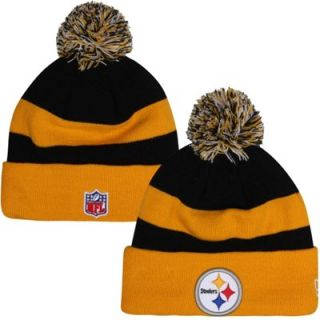 New Era Pittsburgh Steelers Youth On Field Cuffed Knit Hat   Black/Gold