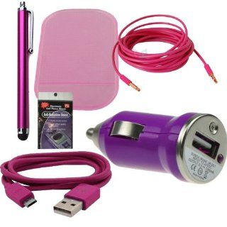 Pink USB Car & Truck Charging Kit for Samsung Galaxy S4 Active, S4 & S3. Comes with 3ft Short Cable, USB Car Charger, Sticky Dash Pad, 3.5mm AUX Cord, Stylus Pen and Radiation Shield. Cell Phones & Accessories