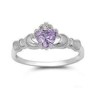 Sterling Silver Claddagh Ring with Alexandrite CZ Heart Stone Size 5 10; Comes with Free Gift Box (10) Jewelry