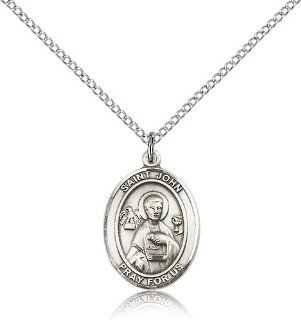 .925 Sterling Silver Saint St. John the Apostle Medal Pendant 3/4 x 1/2 Inches Engravers/Printers 8056  Comes with a .925 Sterling Silver Lite Curb Chain Neckace And a Black velvet Box Jewelry