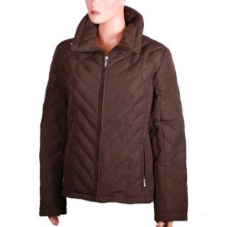 Nine West Womens Winter Quilted Down Jacket (XL, Brown/Espresso)